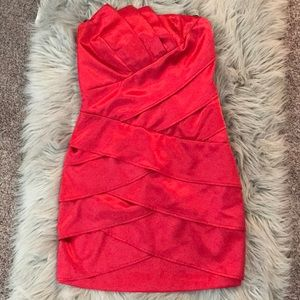 Strapless Silk Red Dress (Size: 3, Worn Once)
